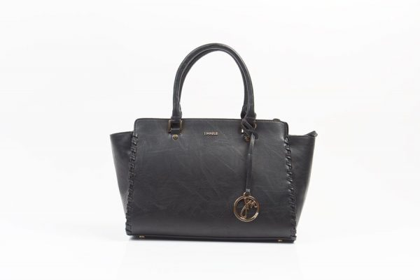 black whip stitch handbag