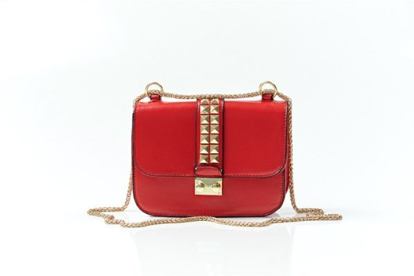 red crossbody bag with hstuds