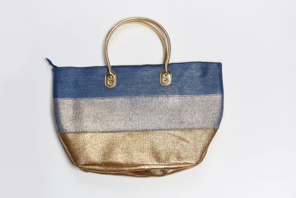 Blue and gold beach bag