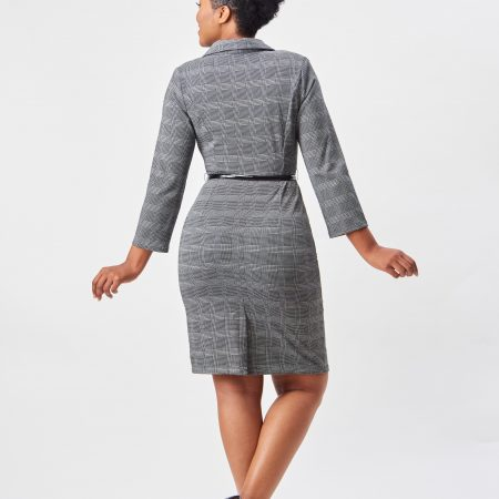 3/4 SLEEVE COLLARED DRESS