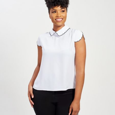 CAP SLEEVE BLOUSE W/ SCALLOPED COLLAR